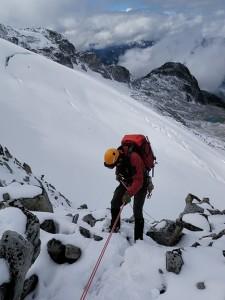Our 50m rap onto the glacier