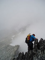 Down climbing Cypress Peak
