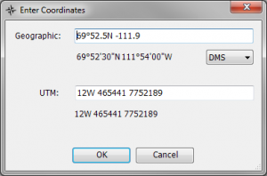 Coordinate entry in any Geographic or UTM format